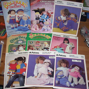 Large Lot Cabbage Patch Crochet Knit Sewing Patterns + Fabric