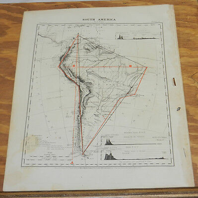1867 Antique COLOR Map of SOUTH AMERICA, WITH TRIANGULATION, Hand-Colored