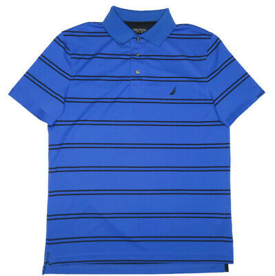 Nautica Mens Blue Striped Polo Shirt Small Short Sleeve Slim Fit