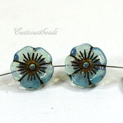 Flower Buttons, 12mm,  AQUA, Czech Glass Buttons, 15 Pieces