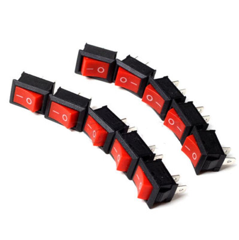 10pcs Red Rocker Switch KCD1-101 250V 6A Boatlike Style Switch 2 PIN good