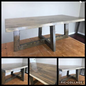 RECLAIMED YELLOW PINE COFFEE TABLE WITH MATCHING HALL TABLE