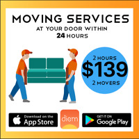 Moving Services - 2 Hour, 2 Movers - Only $139- Within 24 Hours