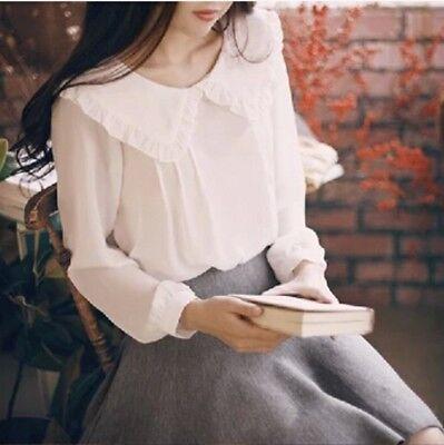 Lolita Girls Peter Pan Collar White Blouse Long Sleeve Sweet Bottom Shirt (Girls Peter Pan Collar Blouse)