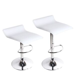 (2) Two White Adjustable Bar/Table Stool for Sale $80