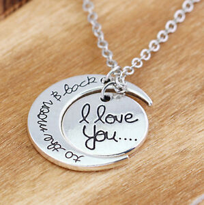 "Silver ""I love you to the moon and back``Pendant"