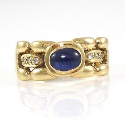 14K Yellow Gold Blue Sapphire Natural Diamond Ring Size 6.5 QR1