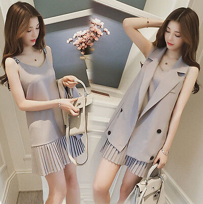 Fashion Womens Korean Jacket Blazer + Brace Summer Sleeveless Pleated Dress Set