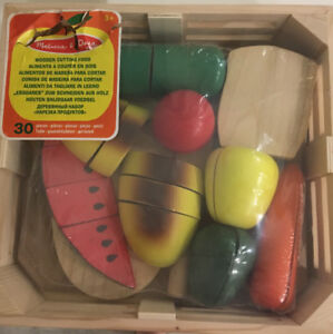 MELISSA & DOUG WOODEN CUTTING FOOD WITH  KNIFE AND TRAY BNIB