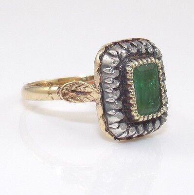 Antique Estate 18K Yellow Gold Natural Emerald Diamond Ring Size 7.5 ZD
