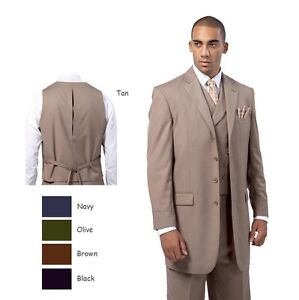 Mens-Four-Button-Classic-Wool-Feel-Back-Center-Split-Solid-Suit-w-Vest
