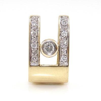 14K Yellow Gold 0.15ctw Natural Diamond Modernist Slide Pendant QR1