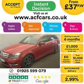 2012 RED MERCEDES C220 2.1 CDI AMG SPORT PLUS DIESEL ESTATE CAR FINANCE FR £37PW