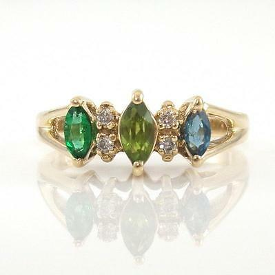 14K Yellow Gold Natural Diamond Emerald Topaz Peridot Ring Size 5 QR1