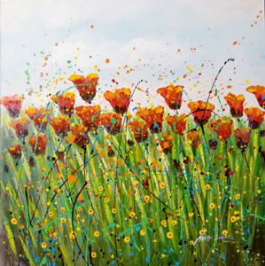 """""""Swaying"""" Floral Art Painted on Wood Framed Canvas"""