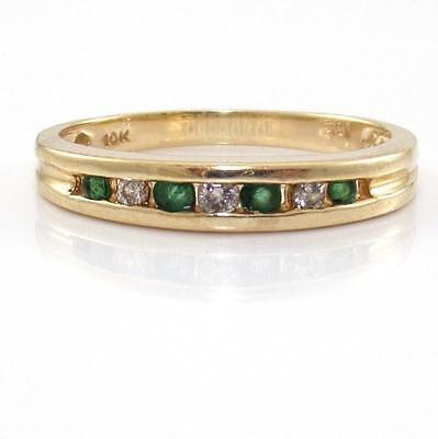 10K Yellow Gold Natural Emerald Diamond Band Ring Size 7 QR1