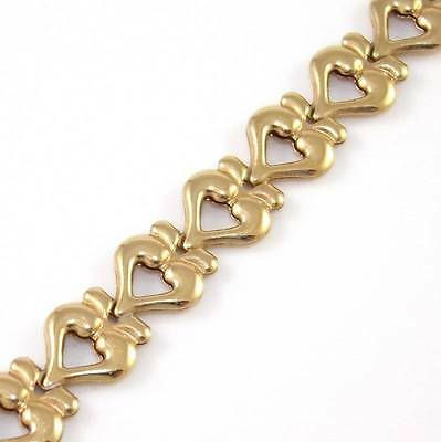 "Solid 14K Yellow Gold Heart Chain Link Bracelet 7"" 7mm"