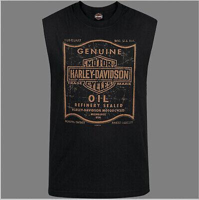 Harley-Davidson Men's 1 Quart Black & Orange Oil Can Sleeveless T-Shirt R003561