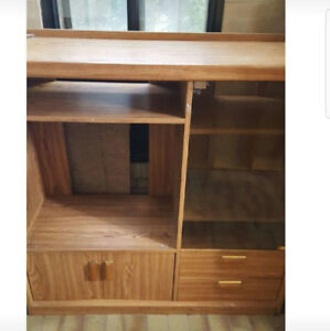 Oak Wood TV Stand And Cupboard