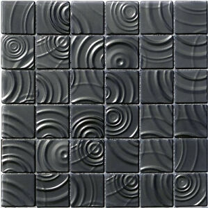 glasmosaik fliesenspiegel mosaik boden bad curve black 3d mosaik 6mm fliesen ebay. Black Bedroom Furniture Sets. Home Design Ideas