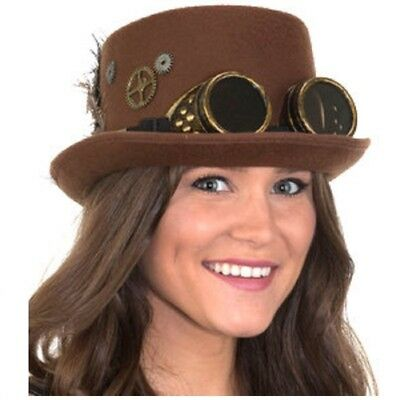 Steampunk Top Hat with Gears, Feathers and - Top Hat And Goggles