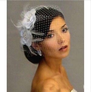 White Bridal Blusher Wedding Birdcage Fascinator Face Veil - New