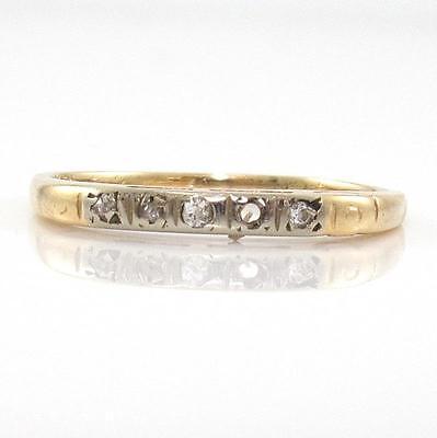 Vintage Antique 14K Yellow Gold Rose Cut Diamond Wedding Band Ring Size 5.75 ZQ4