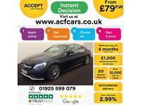 2016 BLACK MERCEDES C220 2.1 AMG LINE DIESEL AUTO COUPE CAR FINANCE FR £79 PW