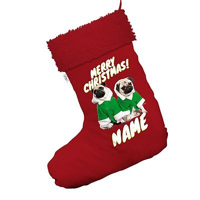 Personalised Santa Costume Pugs Red Christmas Stockings With Red - Pug Santa Costume