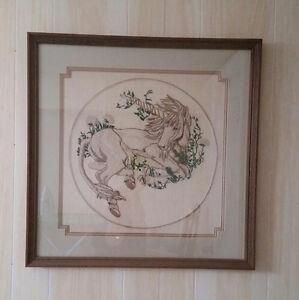Vintage Needlework Unicorn, framed