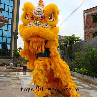 Chinese Lion Mascot Dance Costume Wool Southern Lion Folk art For two adults