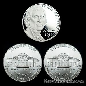 2014 P+D+S Jefferson Nickel Mint Proof Set ~ PD U.S. Coins from Bank Rolls