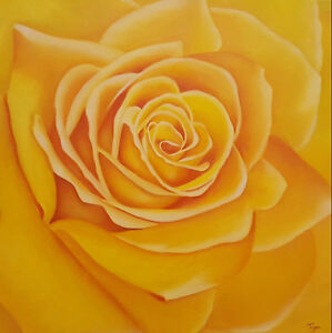 "$199 : Oil Painting Yellow Rose, Gallery Style Canvas 24""x24"""
