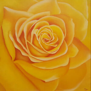 """$199 : Oil Painting Yellow Rose, Gallery Style Canvas 24""""x24"""" West Island Greater Montréal image 1"""