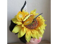 HANDMADE OOAK summer large butterfly sunflower fascinator Ascot races hat.