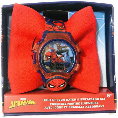 Spider-Man Light Up Icon Kids Watch & Sweatband Set SPD40045 NEW