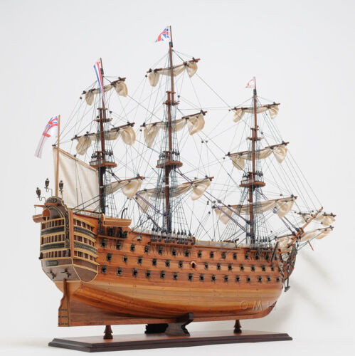 "HMS Victory Tall Ship Wooden Scale Model Sailboat 30"" Fully Assembled Boat New"