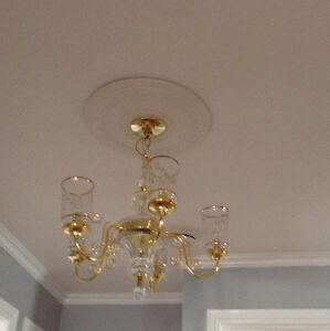 Set of 2 Gold 5 Light Chandeliers with 24% Lead Crystal Glass