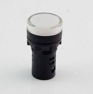10-PCS-White-LED-Power-Indicator-Signal-Light-24VDC-22mm-Diameter-50mm-Height