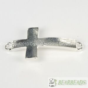 50Pcs Curved Side Ways Smooth Metal Cross Bracelet Connector Charm Bead Pick