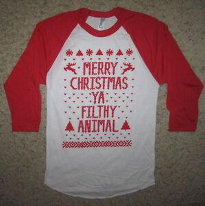 3 4 Sleeve Ugly Christmas Sweater T Shirt Merry Xmas Ya