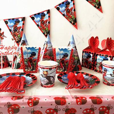 132 × Miraculous ladybug Geburtstag Party Dekorationen Geschirr Thema Gefallen