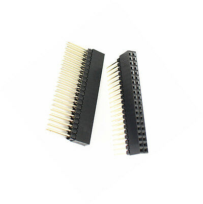 2 Pcs 2.54mm Pitch 2x20 Pin 40 Pin Female Double Row Long Pin Header Strip Pc104