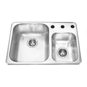 Kindred stainless steel double sink for tight spaces.