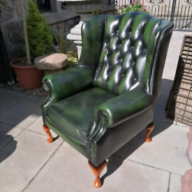 Chesterfield Green leather wingback