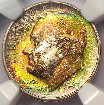1947 S ROOSEVELT DIME 10C. NGC MS68 STAR GRADE   MONSTER RAINBOW   TOP POP 13/0