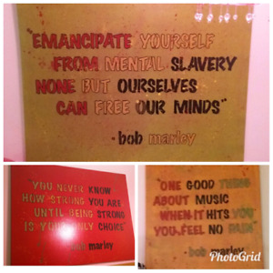 3 Bob Marley quote canvases