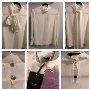 BNWT Ted Baker 100% silk white blouse size 3
