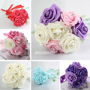 Lovely Bridesmaids Bouquet Foam Rose Rhinestone Ribbon - New