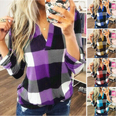 T-shirt Plaid XL Top Long Sleeve Women Blouse 2XL Blue Casual Sweater Long -
